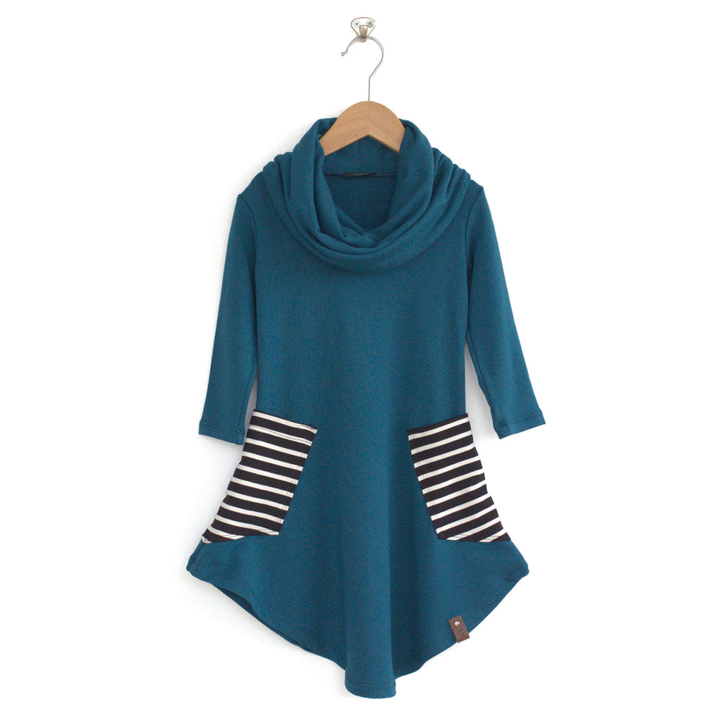 Avery Cowl Dress - Peacock Stripe