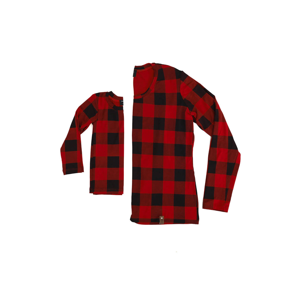 Mila Fitted Long Tee - Plaid