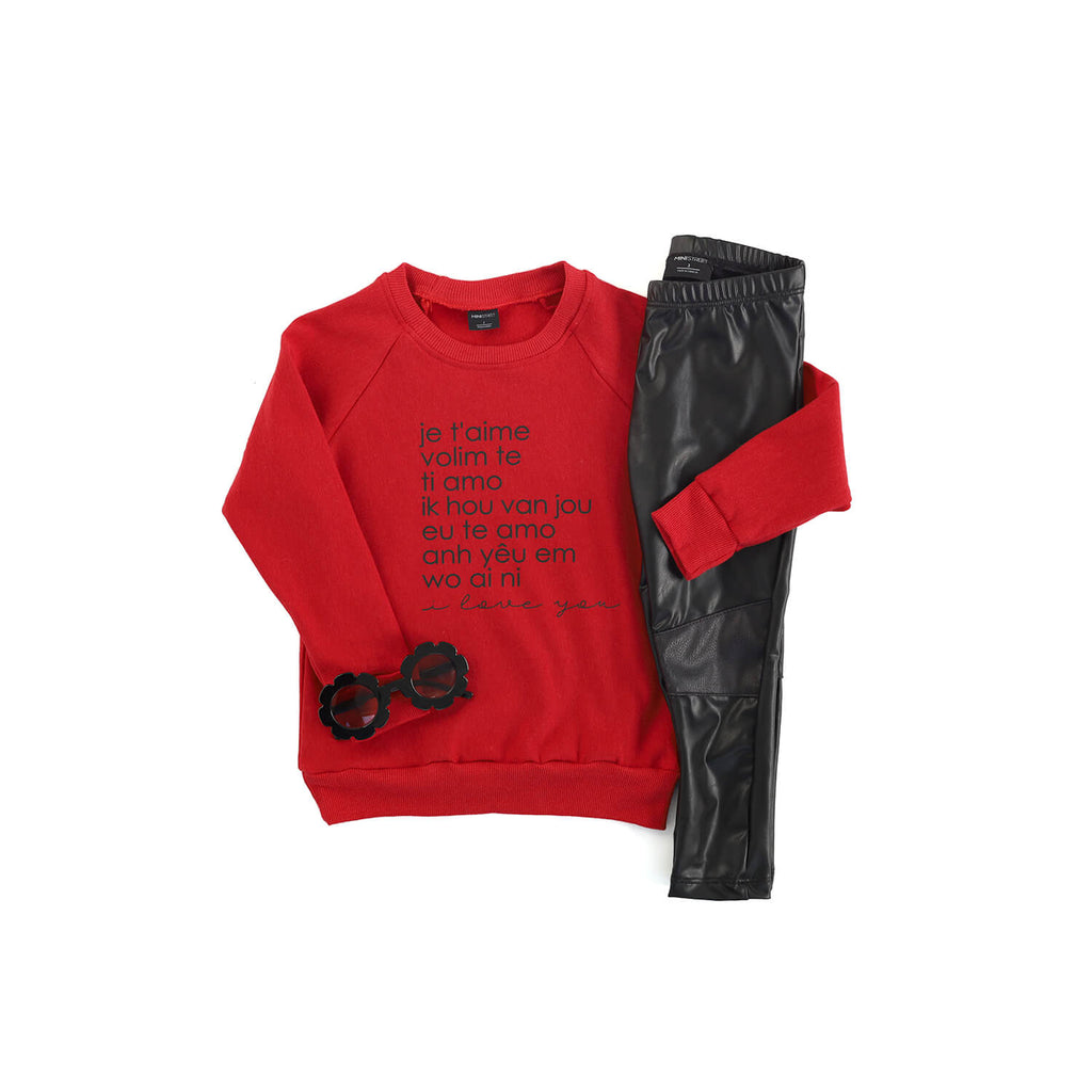 Jaxon Crew Sweater - I Love You - Red