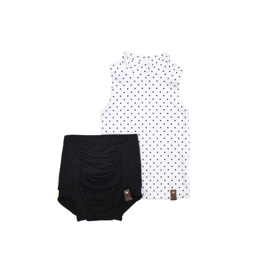 Molly Sleeveless Mock - Polka Dot