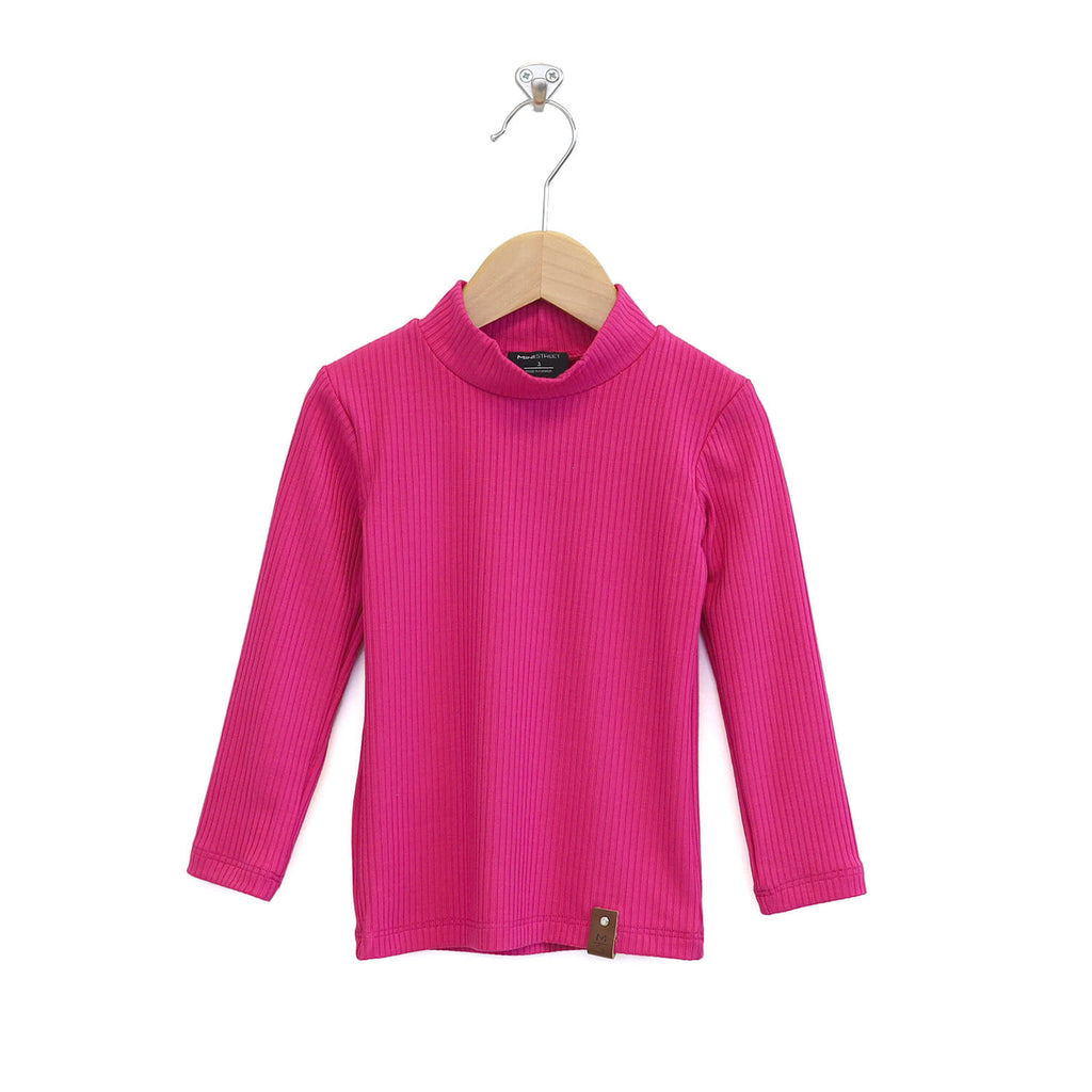Marin Mock Fitted Tee - Hot Pink Rib