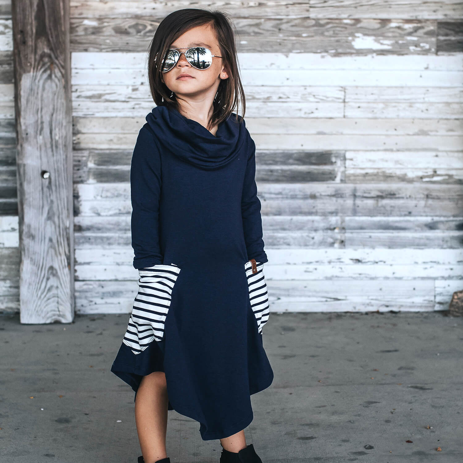 Avery Cowl Dress - Navy Stripe