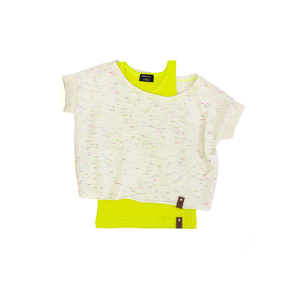 Ivy Women Crop Sweater - Neon Cream Flecks