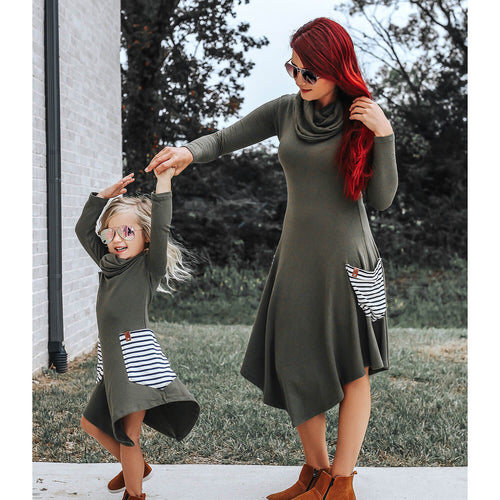 Avery Woman Cowl Dress - Olive Stripe