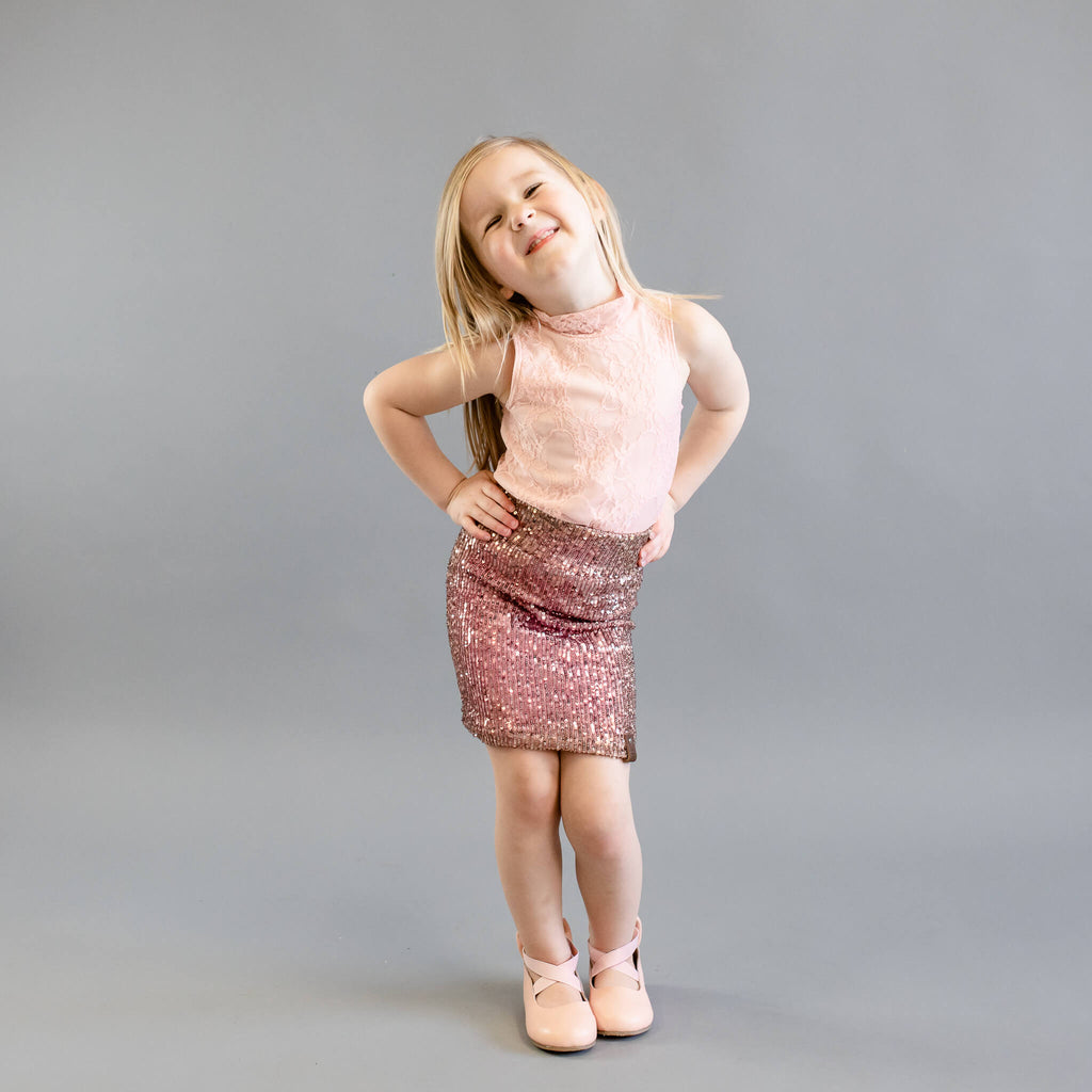 Molly Sleeveless Mock - Pink Lace