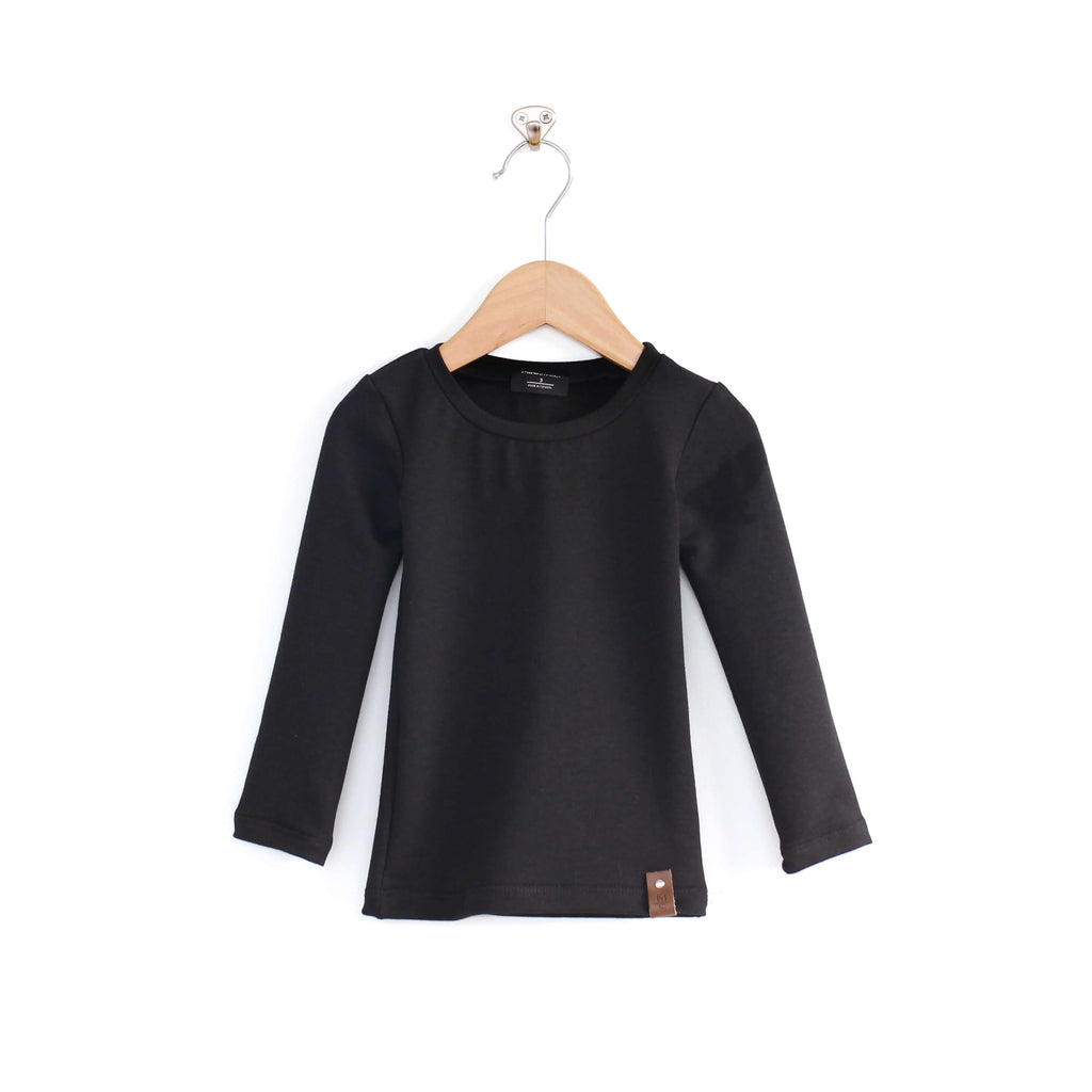 Mila Fitted Long Tee - Black