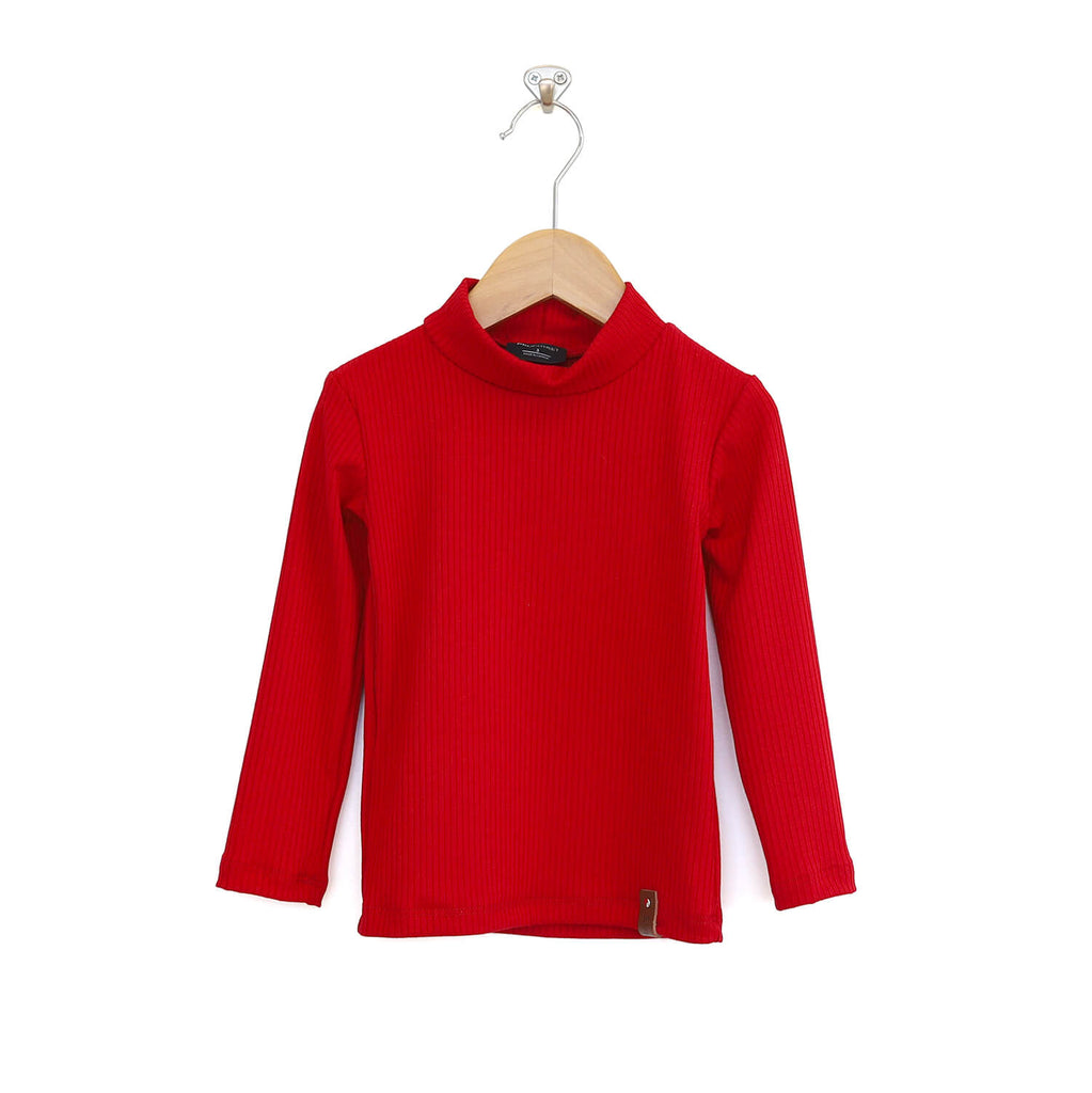 Marin Mock Fitted Tee - Crimson Red Rib