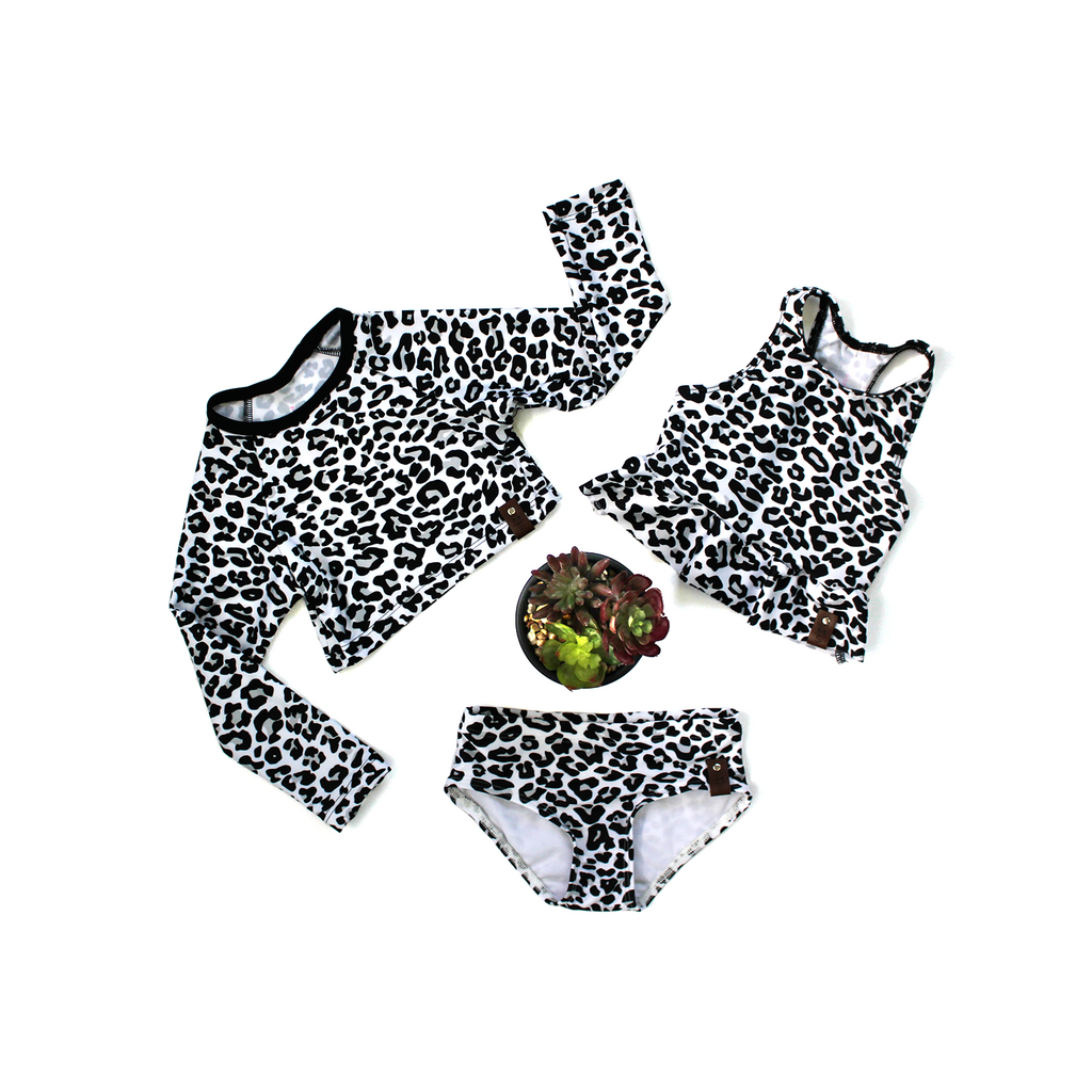 Abby Peplum Swim Top - Grey Leopard