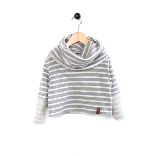 Grey Stripe Jessie Cowl Sweater for Girls by Mini Street
