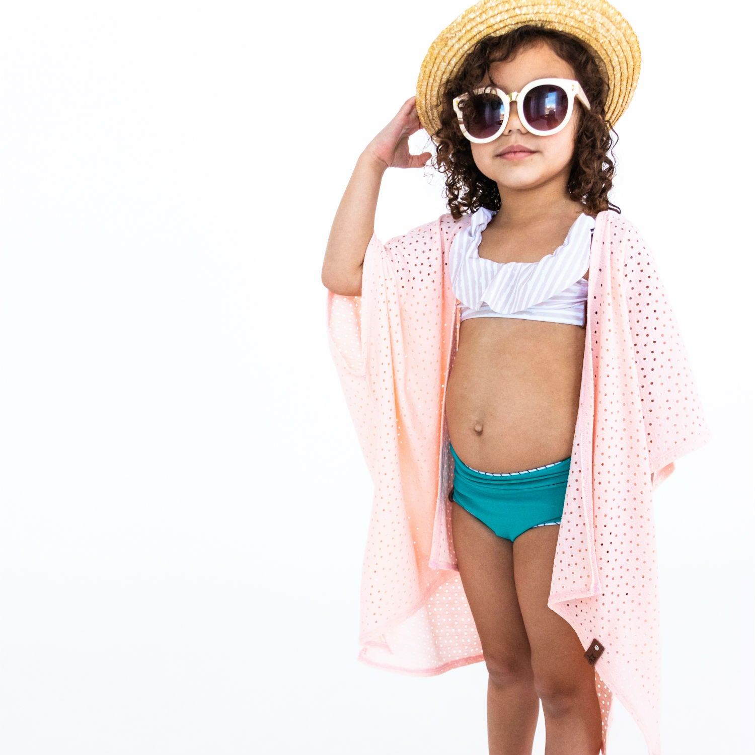 Nevaeh Kimono Adult + Kid - Blush Peach Lattice