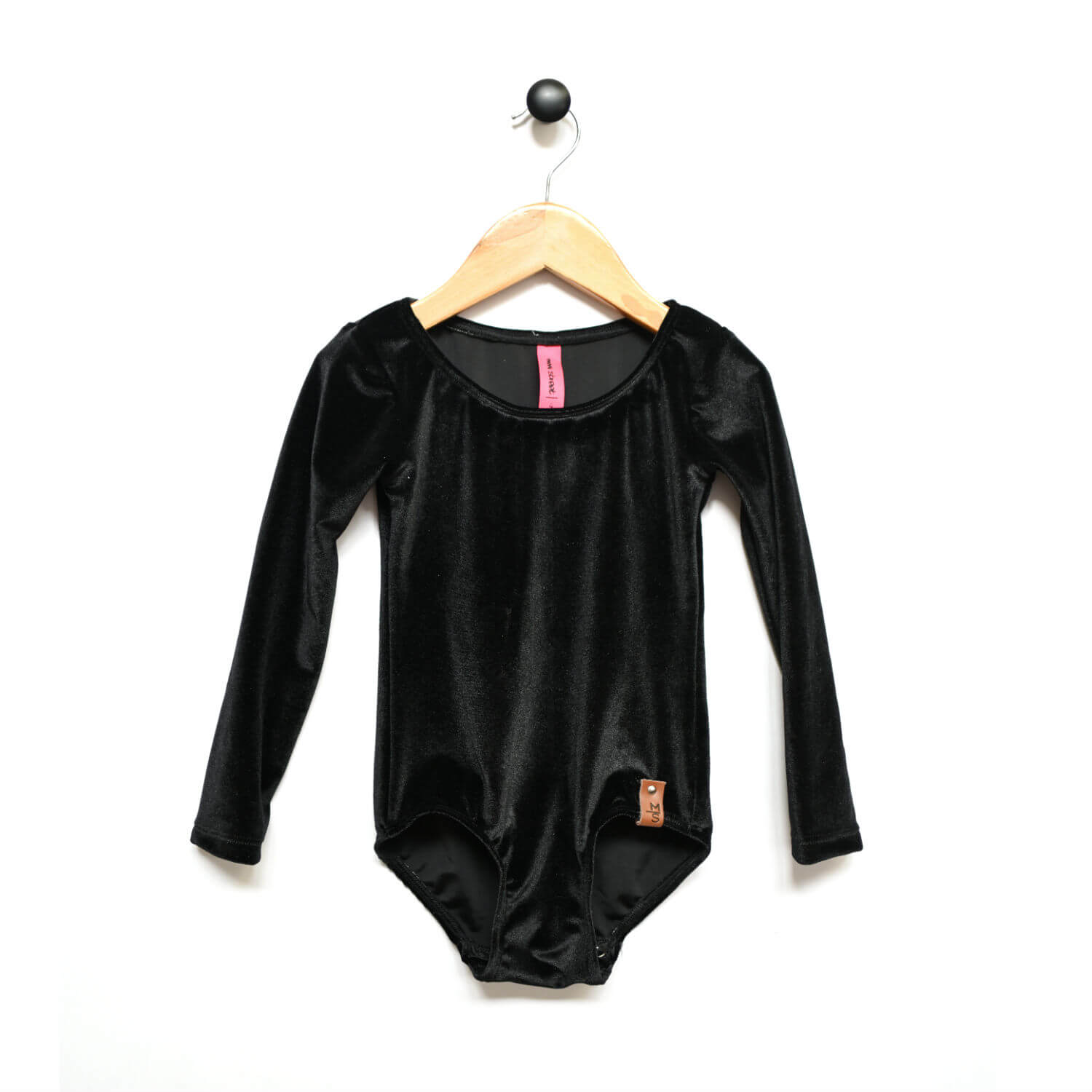 Alyssa Leotard - Textured Velvet Black