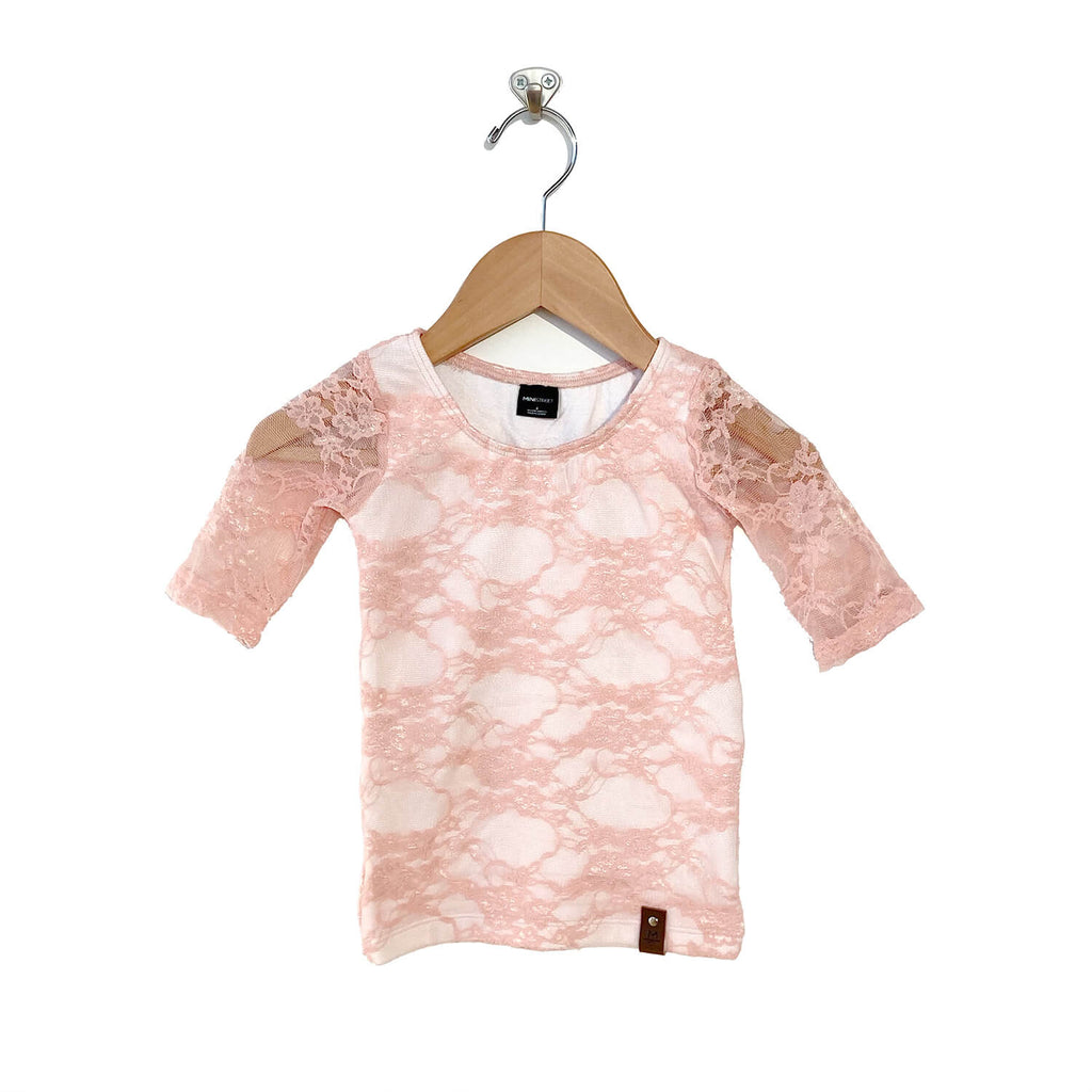 Maci Scoop Tee  - Pink Lace