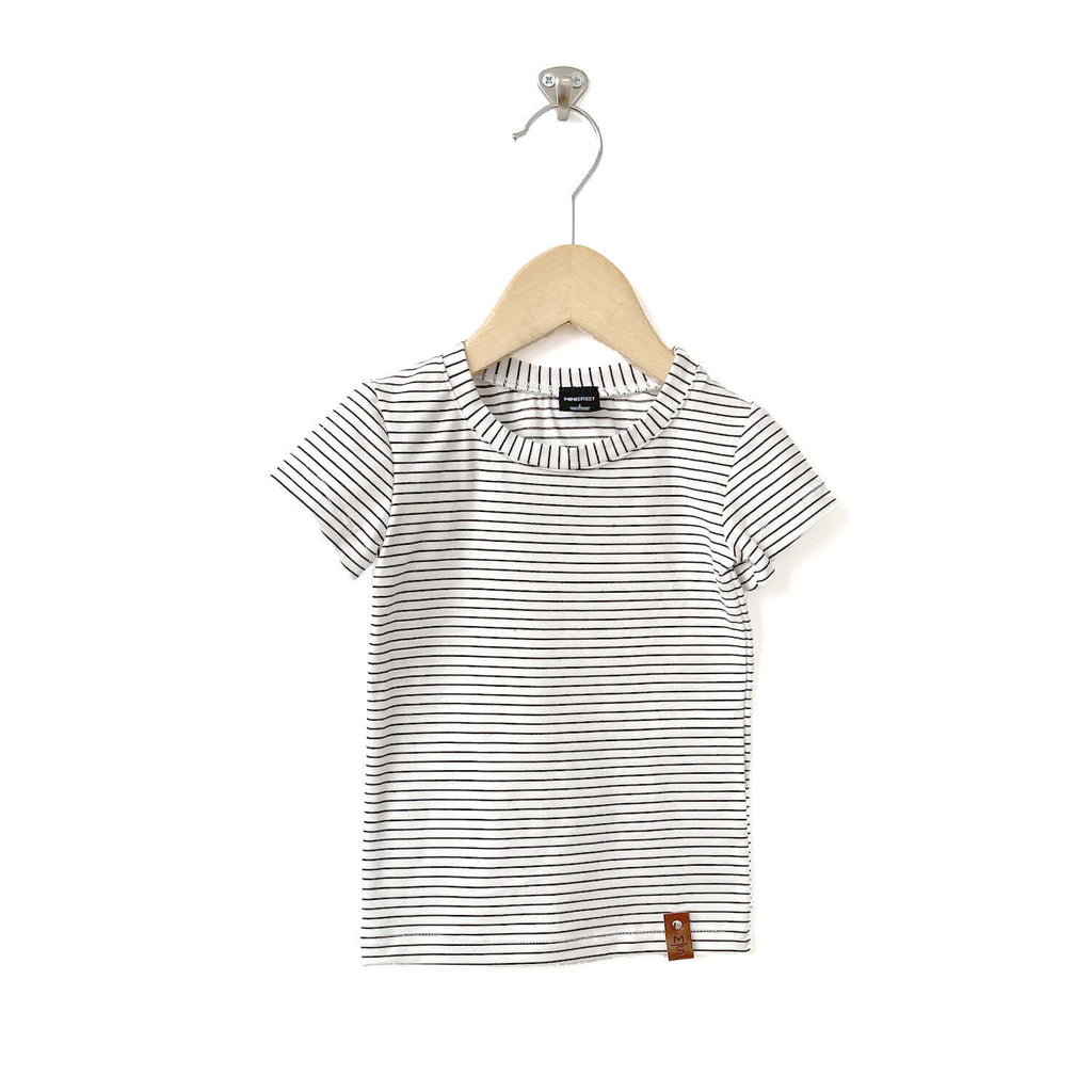 Mae Fitted Tee - White stripes