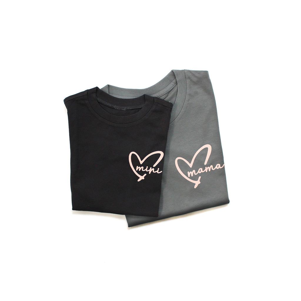 Tee - Mama+MINI Heart - Black/Gray