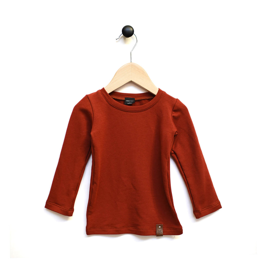 Mila Fitted Long Tee - Burnt Scarlett