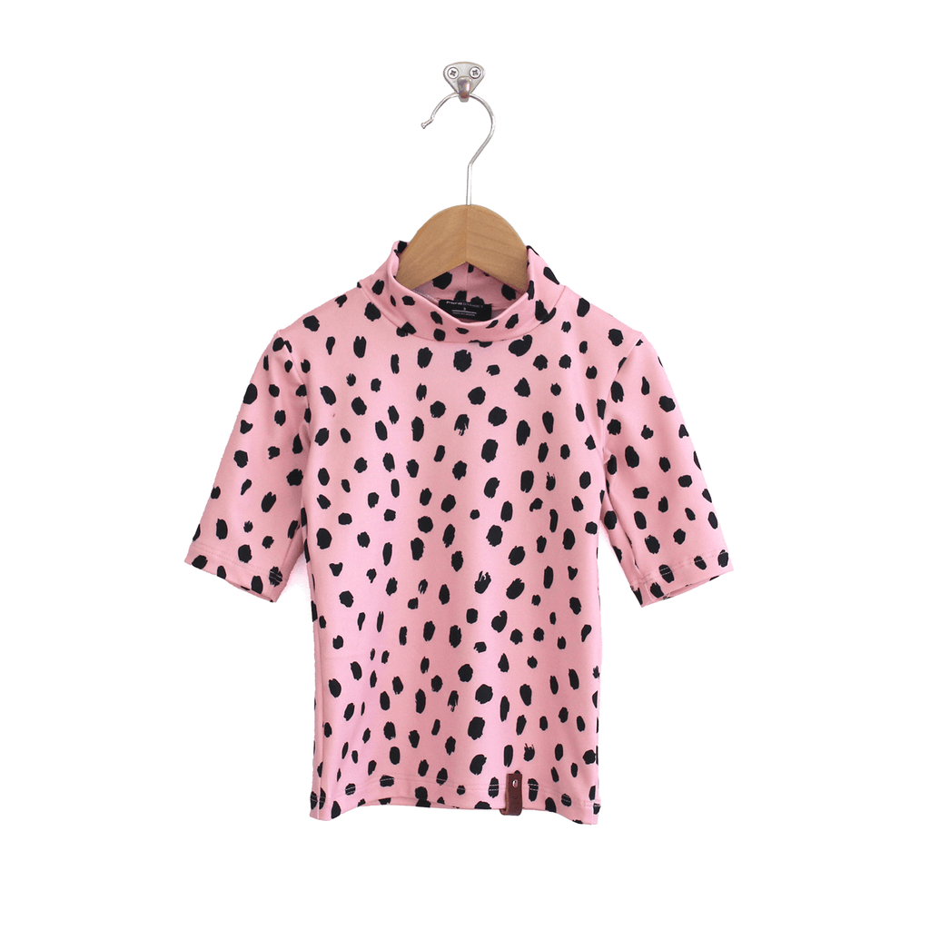 Marin Mock Fitted Tee - Pink Spots