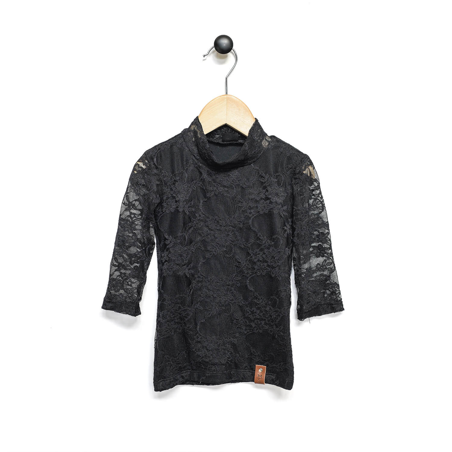 Marin Mock Tee  - 3/4 Sleeve - Black Lace