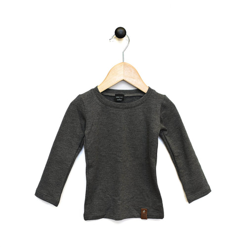 Mila Fitted Long Tee - Charcoal