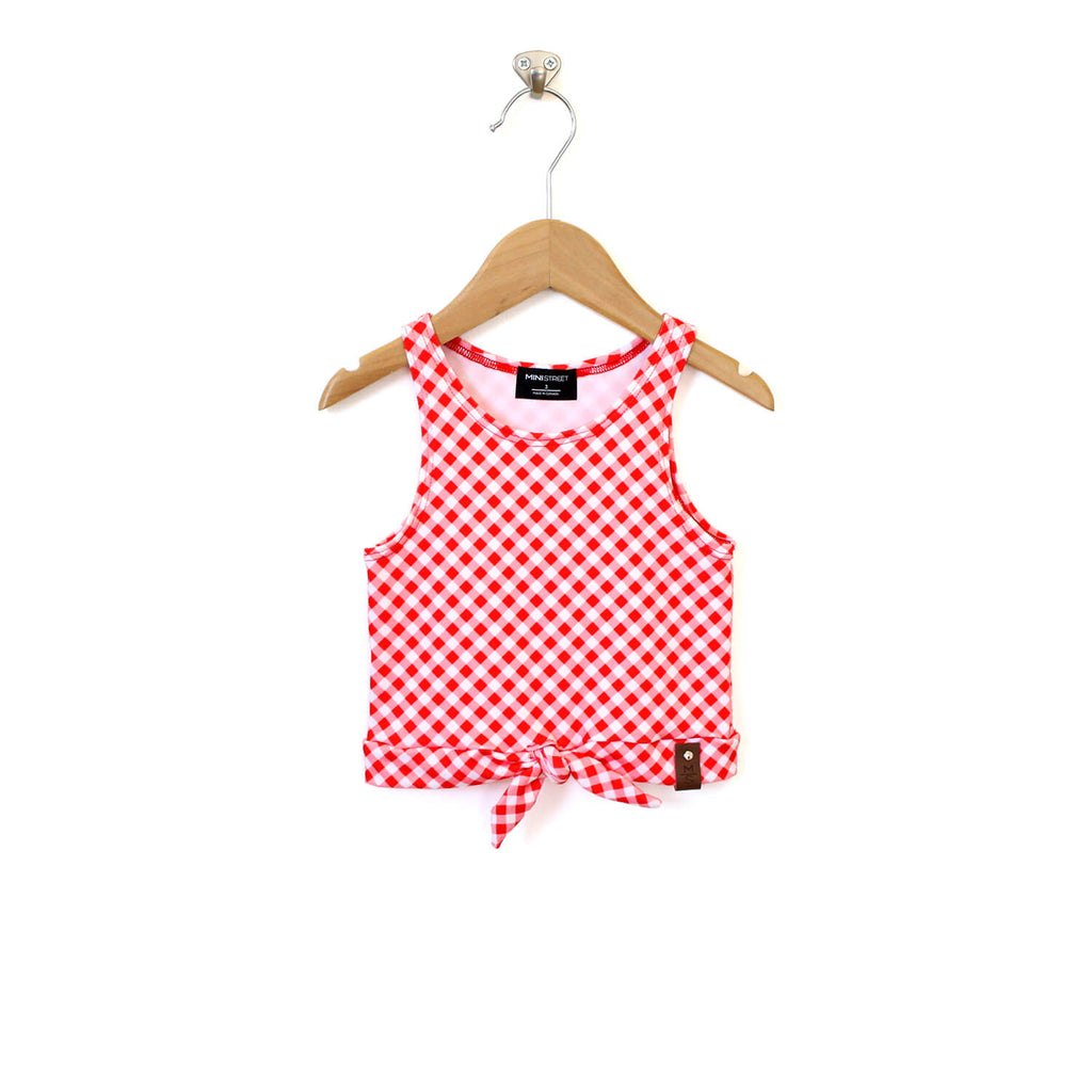 Meena Crop Tie Tank - Red Gingham