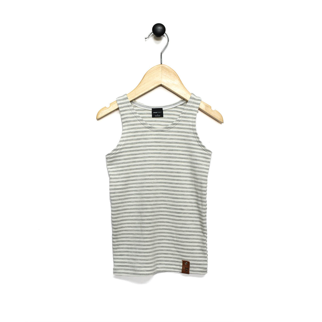 Mia Fitted Tank - Grey Stripes