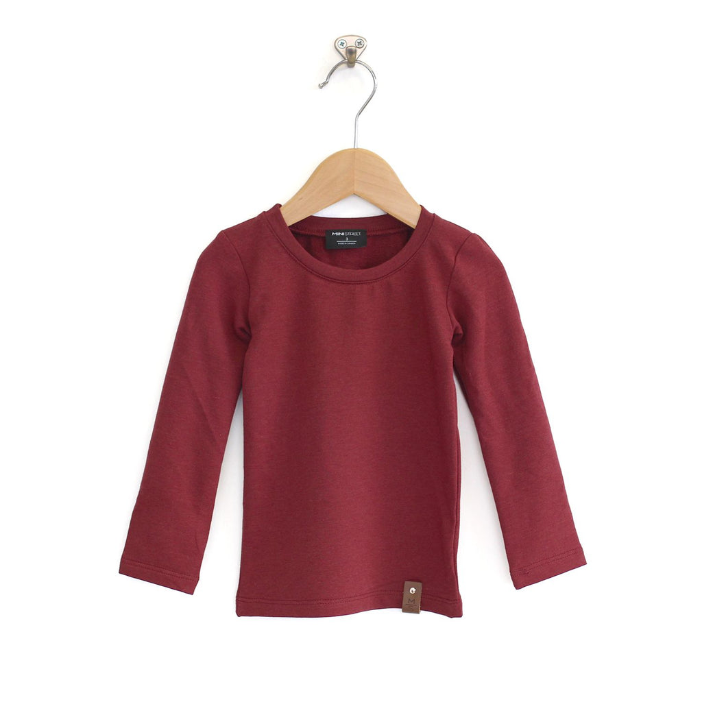 Mila Fitted Long Tee - Maroon