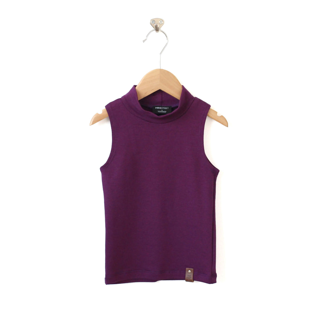 Molly Sleeveless Mock - Plum