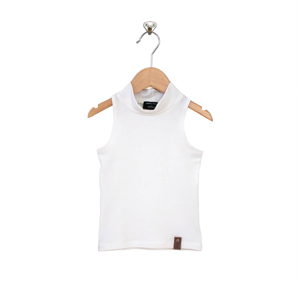 Molly Sleeveless Mock - White