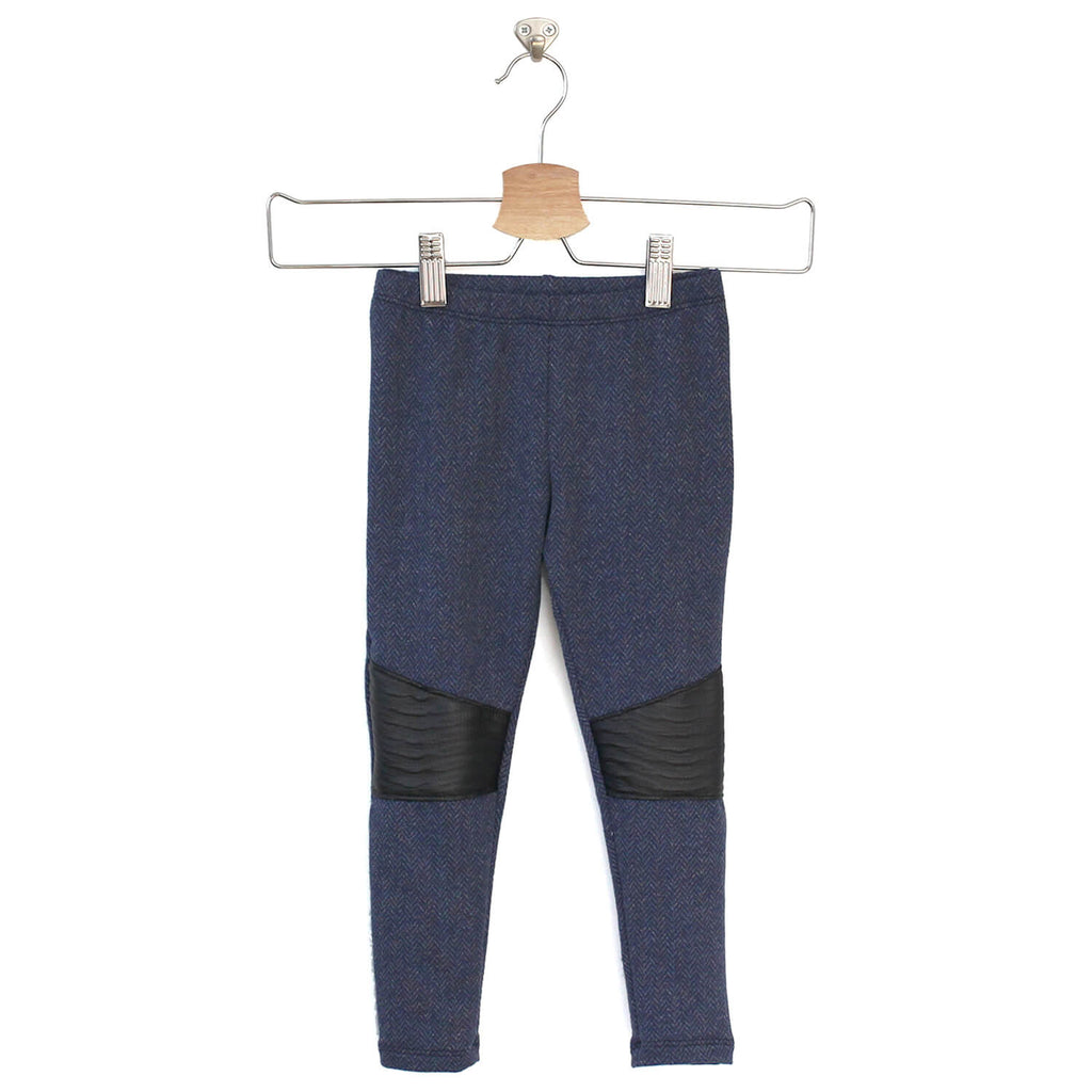 Stevie Moto Leggings - Navy Herringbone