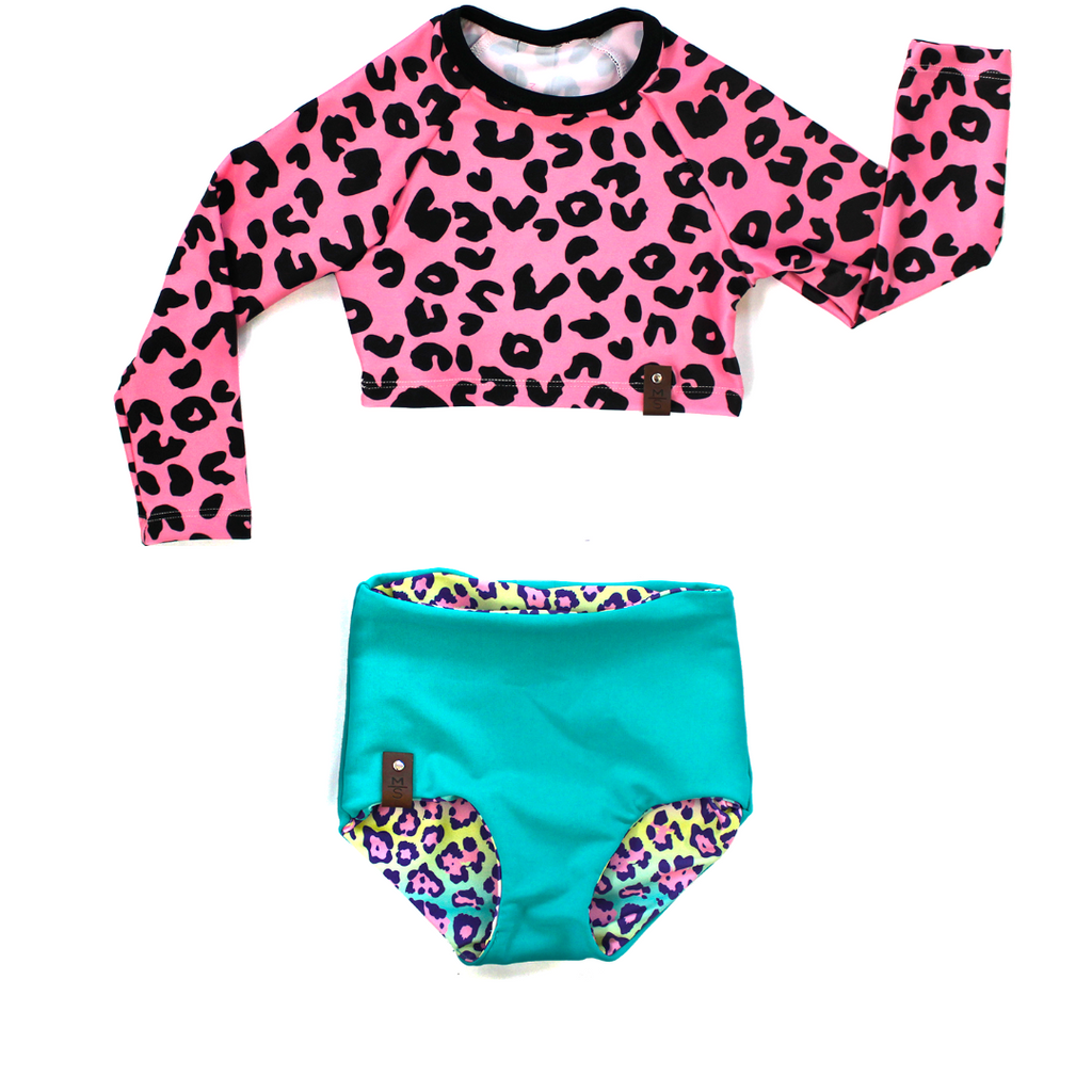 Kylie Swim High Waisted Reversible Bottoms - Rainbow Leopard