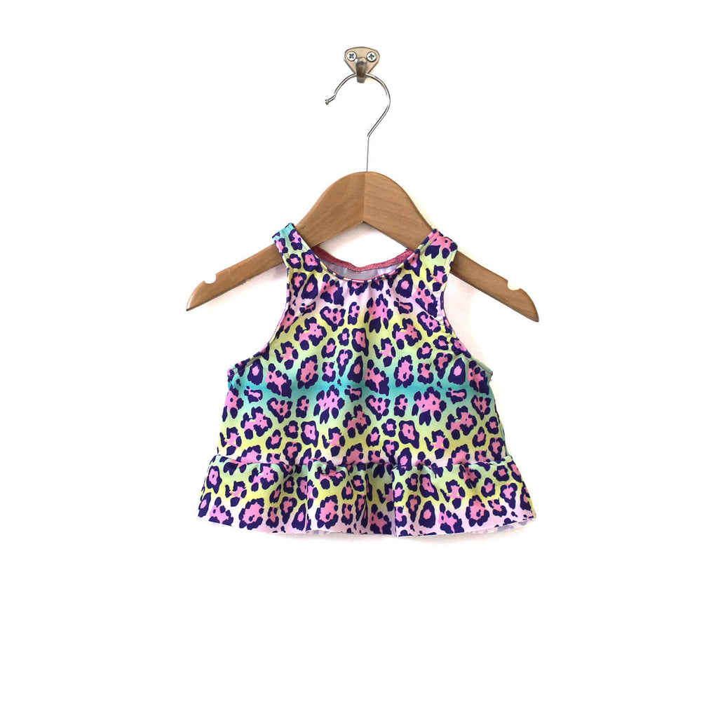 Abby Peplum Swim Top - Rainbow Leopard