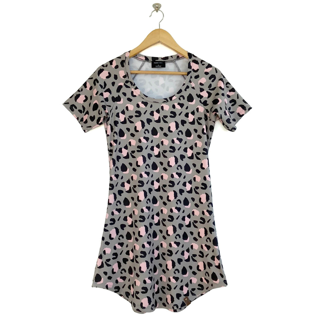 Ryan Women's Tee Dress - Grey Leopard