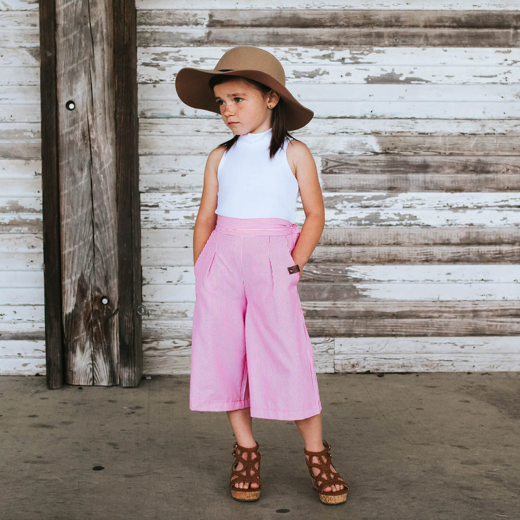 Sailor Crop Pants - Pink Stripe