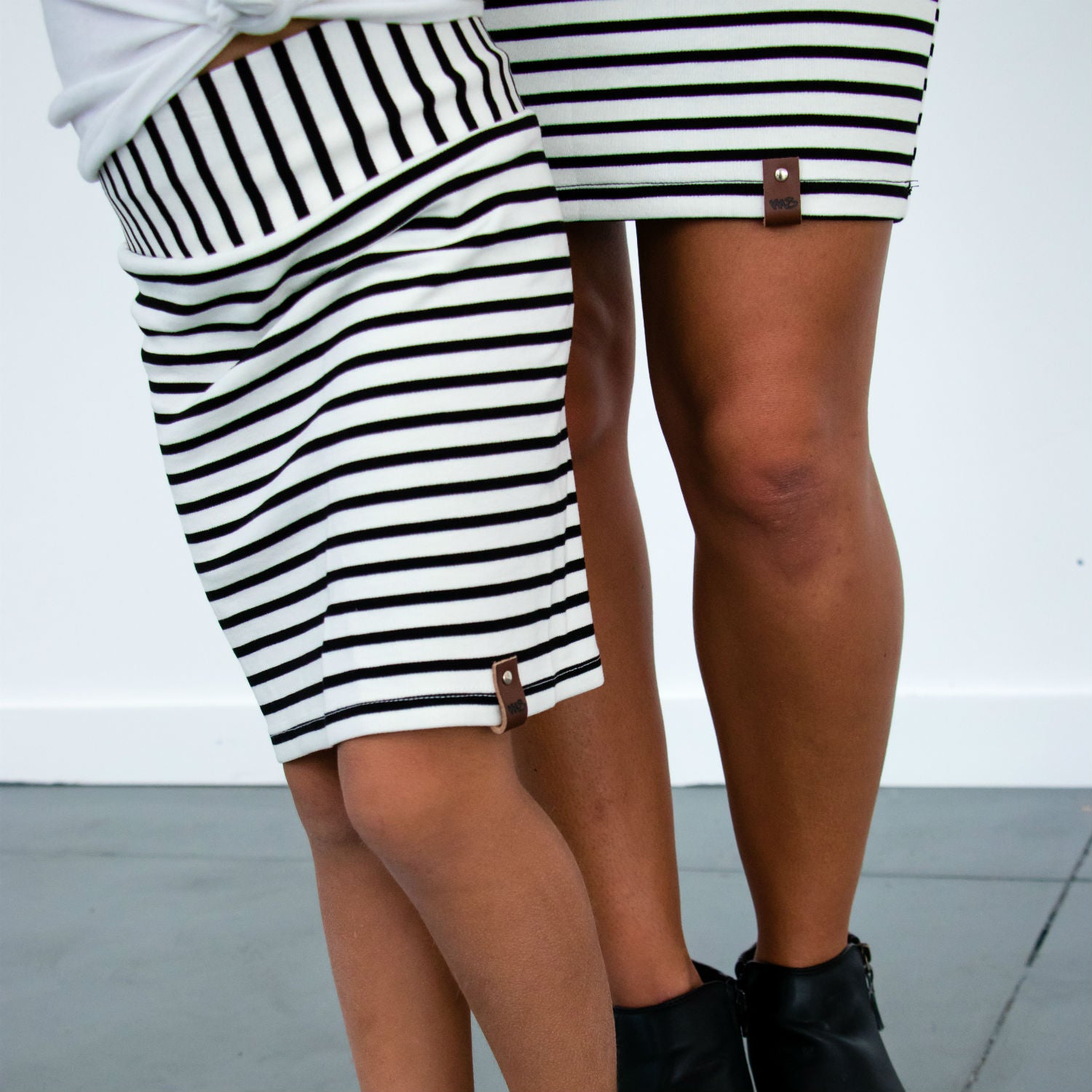 Sienna Pencil Skirt - White Stripe