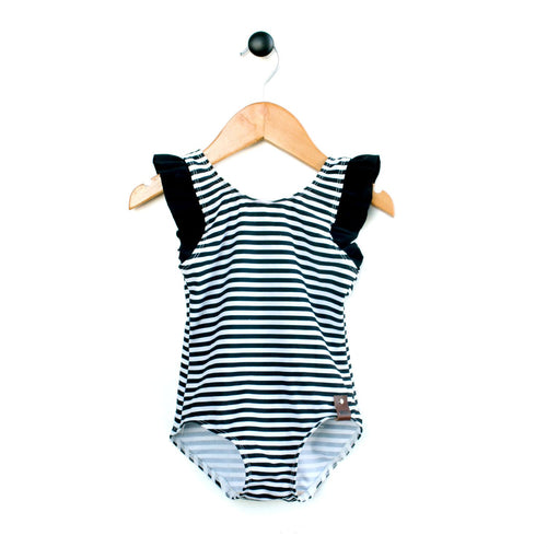 Monochrome striped one piece swimsuit with flutter sleeves for girls by Mini Street
