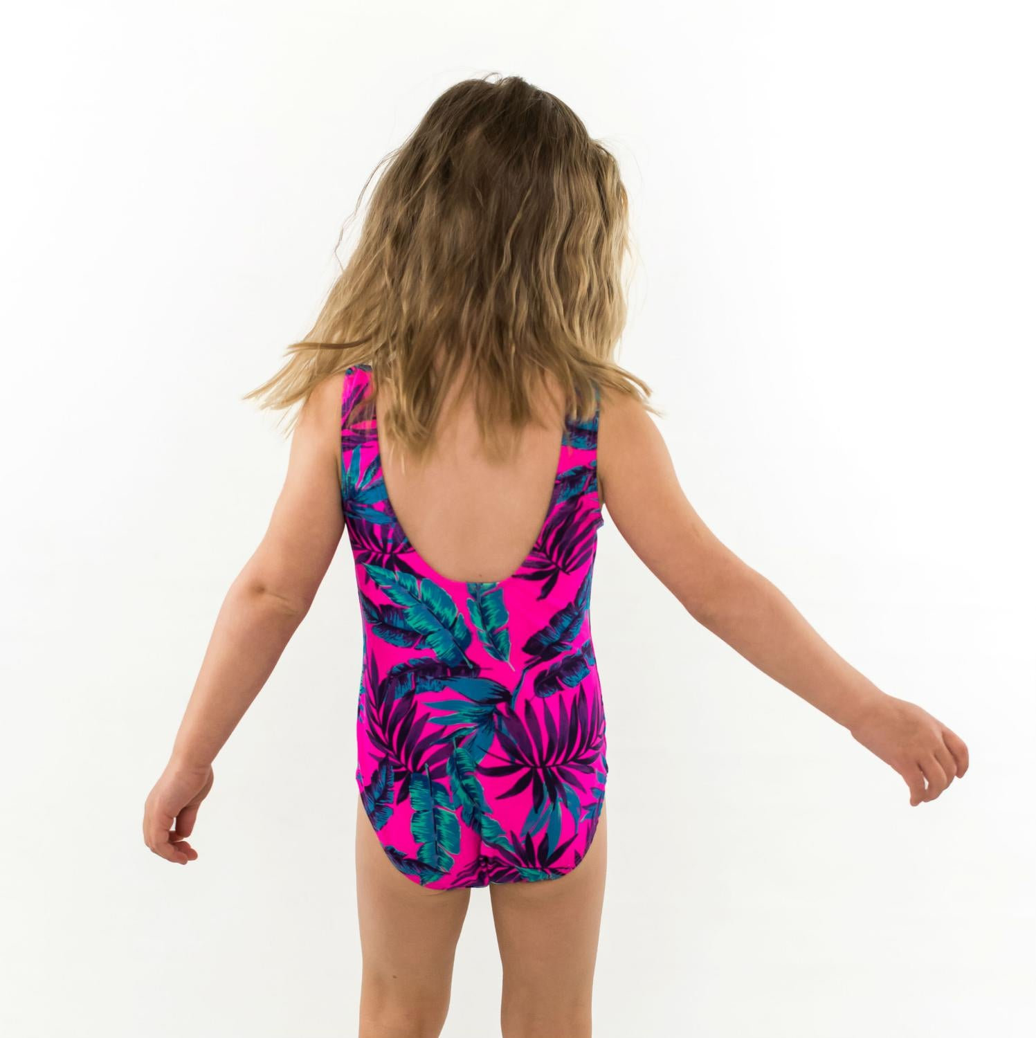 Scoop back one piece swimsuit for girls in Tropical leaves pink, blues, purples by Mini Street