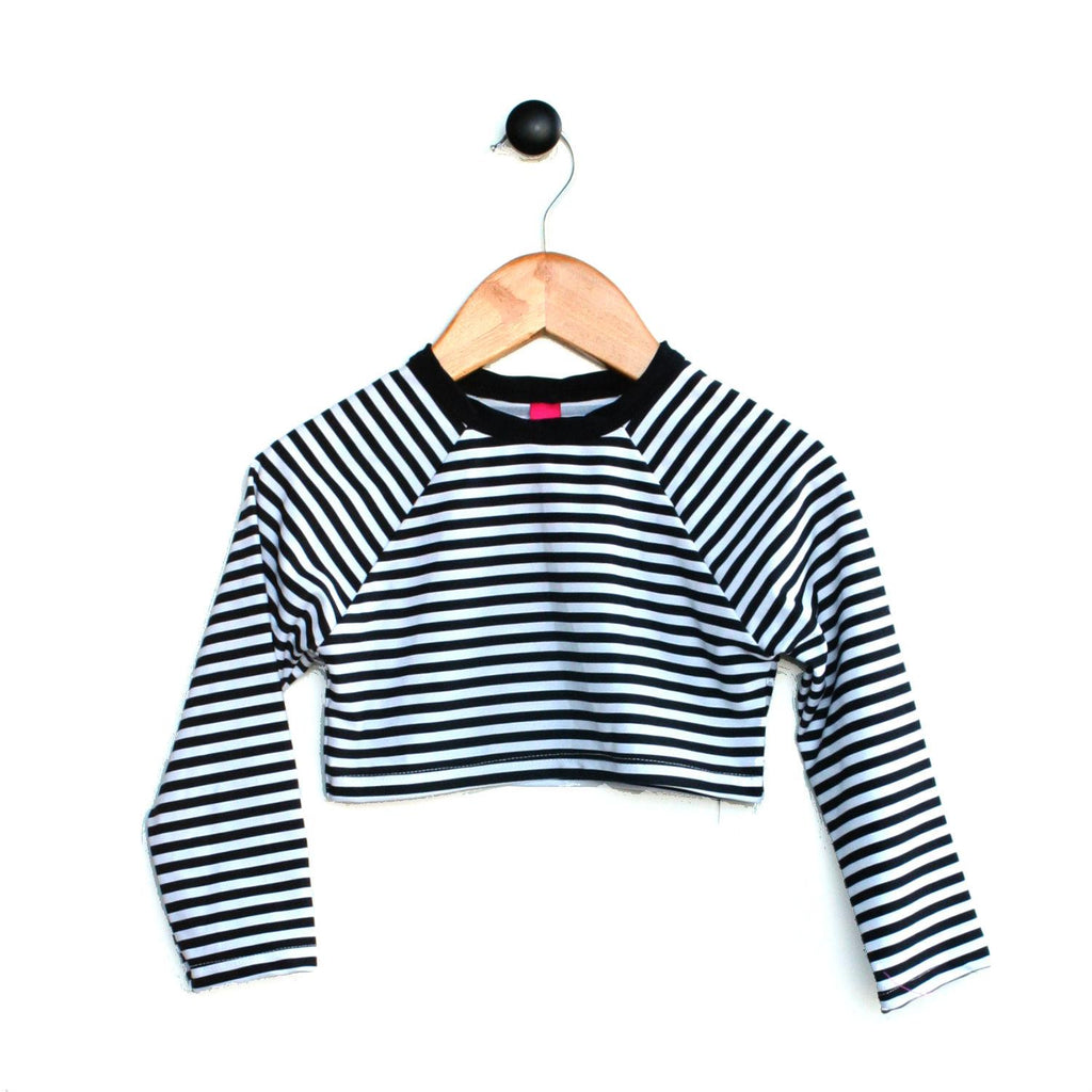 Modern monochrome stripe rash top for girls in crop length by Mini Street