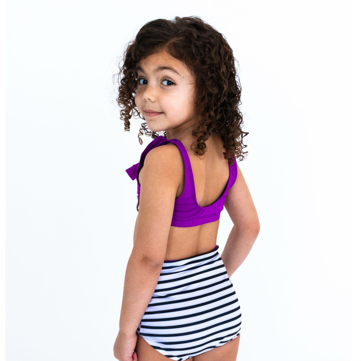 Kylie Swim High Waisted Reversible Bottoms - Violet Stripe