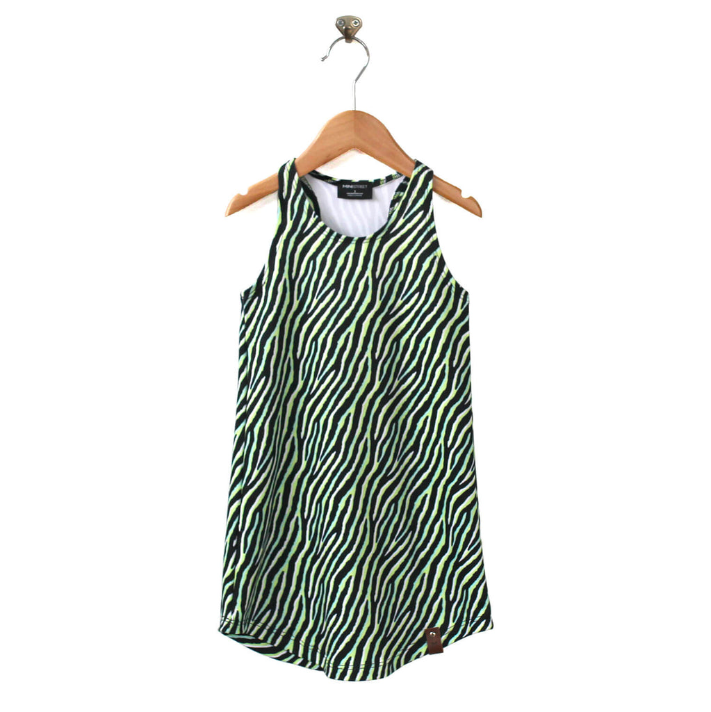Brooke Racerback Tank Dress - Neon Zebra