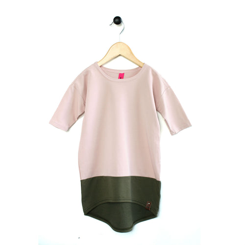 Modern drop shoulder style dress in blush pink and olive by Mini Street