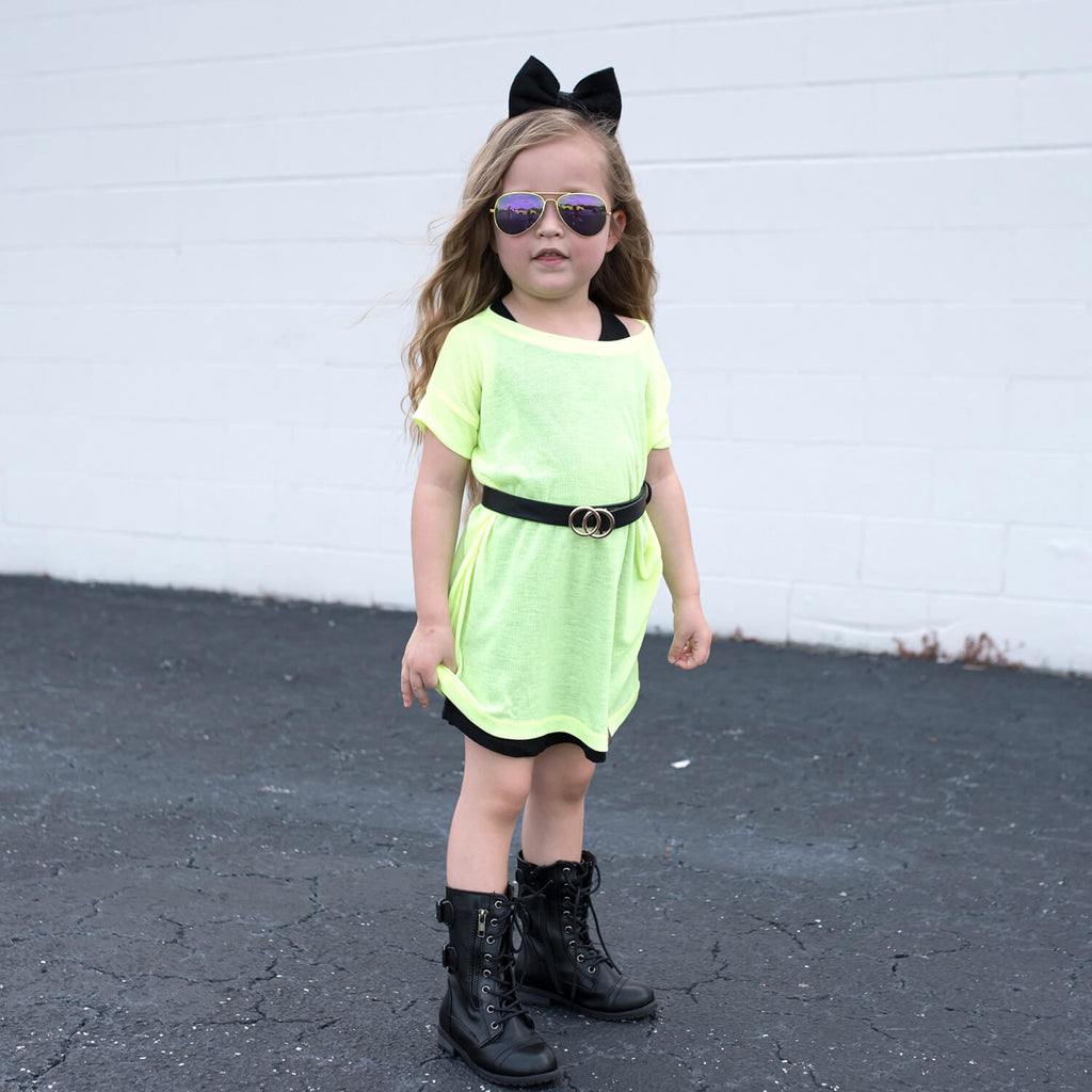 Blake Tee Dress - Neon Yellow
