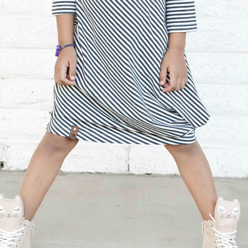 Chic dress for girls made of bamboo.  Knee length with drape by Mini Street