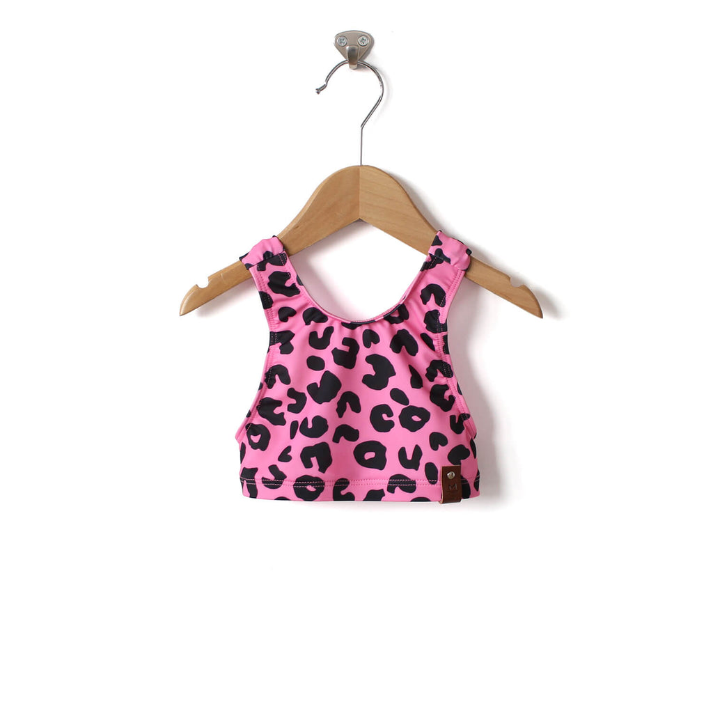 Adele Criss Cross Halter Swim Top - Pink Leopard