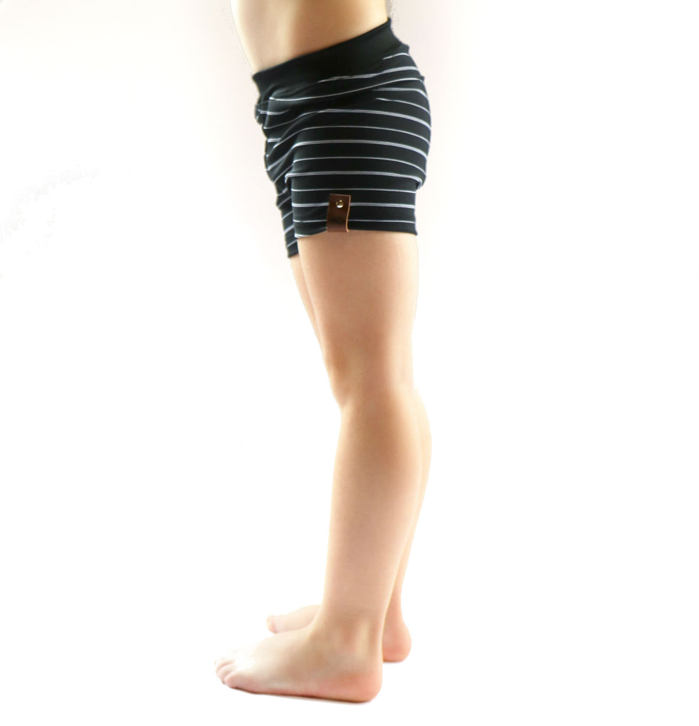 Euro swim shorts unisex for kids by Mini Street in black white stripe