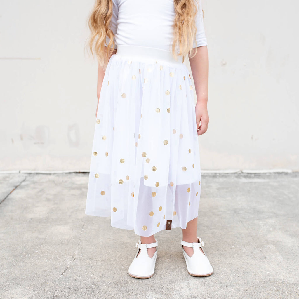 Chloee Midi Skirt - Gold Dots