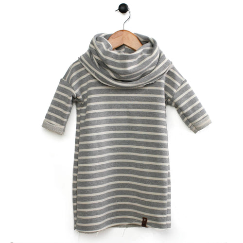Modern dress with stripes and cowl for kids toddler and girls by Mini Street