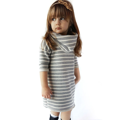 Modern cowl striped dress for girls in light grey by Mini Street