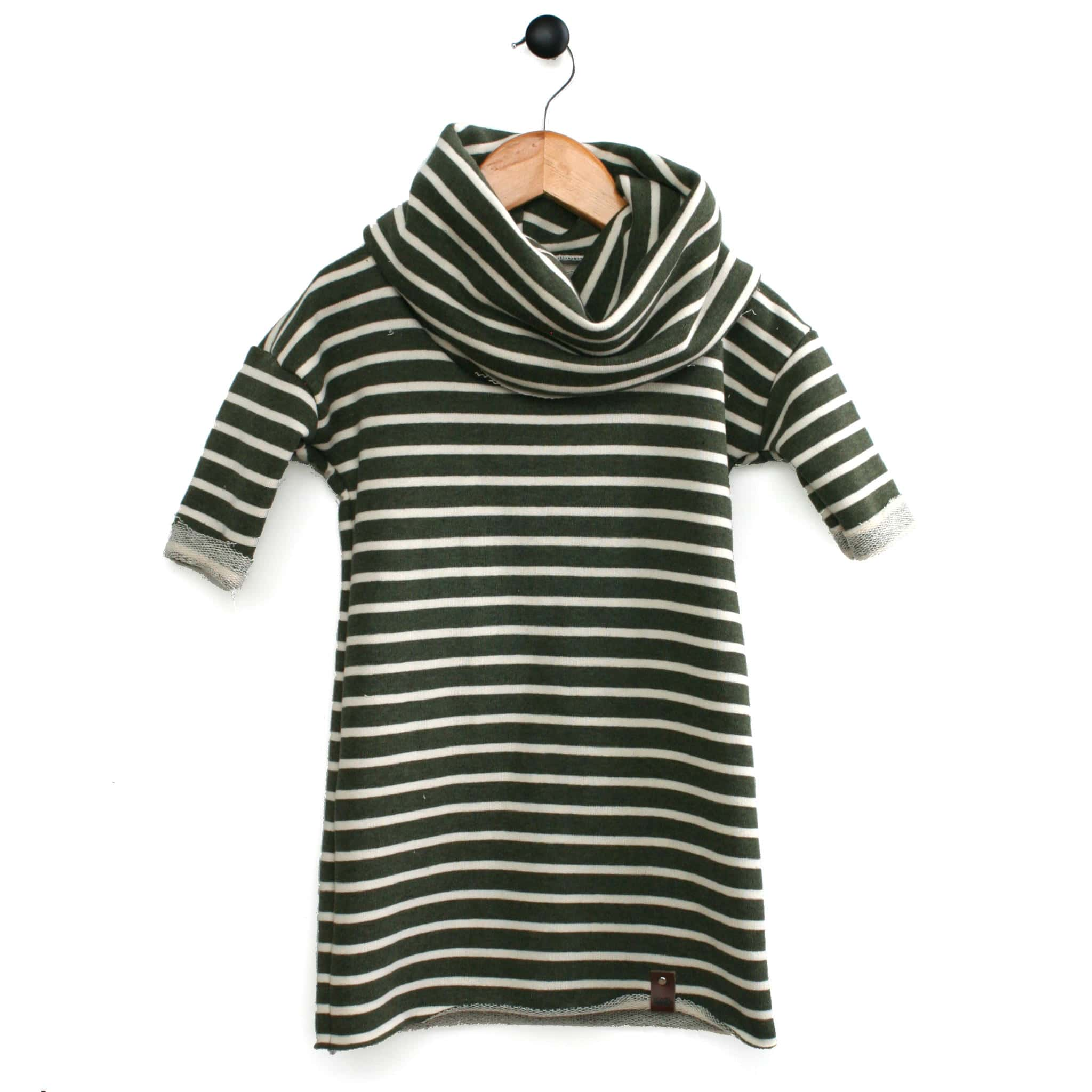 Toddler and big girl stripe dress in Olive and Cream stripe with large cowl neck