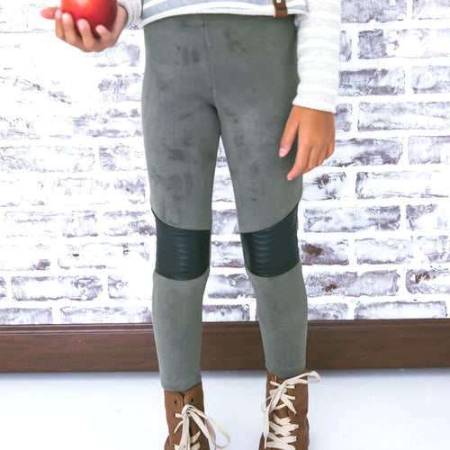 Olive green cozy moto style leggings for kids by Mini Street
