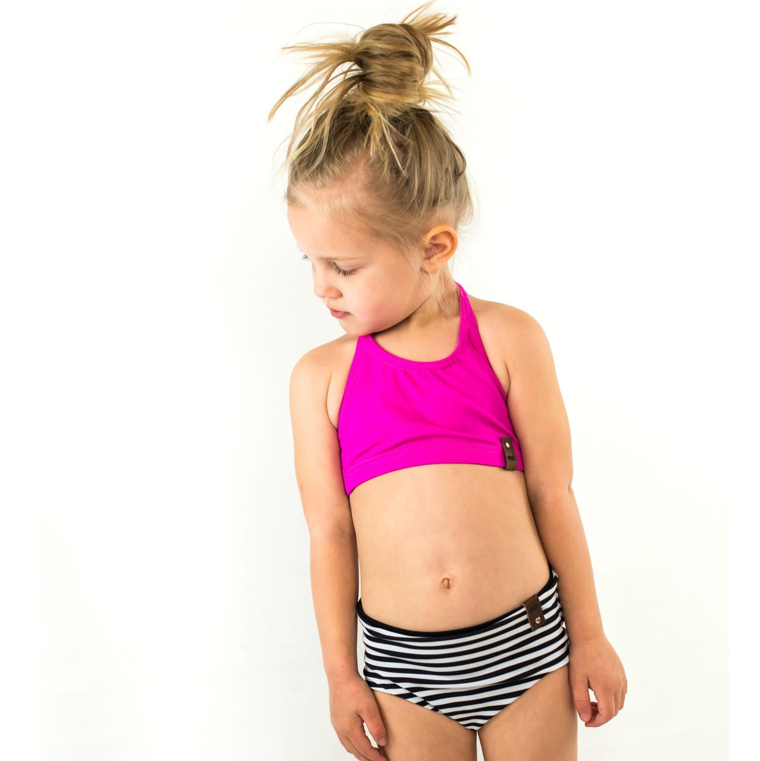 Reversible swim bikini bottoms in monochrome stripes and solid black for girls by Mini Street