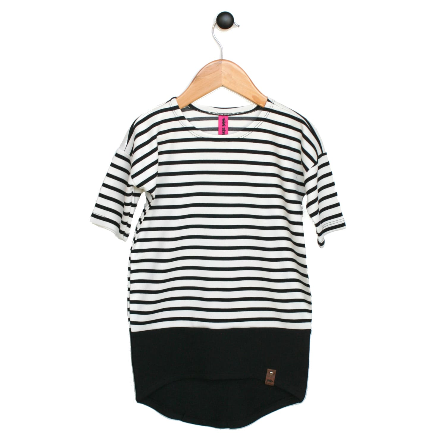 Taylor Woman Dress - Black or White Stripe 3/4 Sleeve